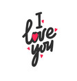 I love you lettering with red hearts on white