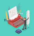isometric flat concept story writing vector image