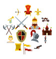 knight icons set flat style vector image vector image