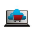laptop cloud computing shopping cart vector image vector image