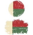 Madagascar round and square grunge flags vector image vector image
