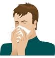 Man sneezing in handkerchief vector image