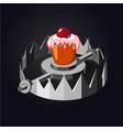 metal trap with cake realistic vector image vector image
