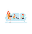 mother sitting on sofa and working on laptop vector image vector image