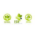 natural organic logo templates set eco bio food vector image