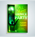 night dance party poster background template fest vector image vector image