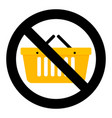not shopping icon vector image vector image