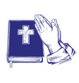 praying hands bible gospel doctrine of vector image vector image