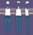 racer top cap and jeans set vector image vector image