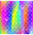 rainbow scales background with kawaii mermaid vector image vector image