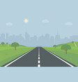 road to city empty straight through vector image vector image