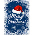 santa hat christmas holiday banner with snowflake vector image