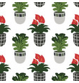 seamless pattern with colorful hand-drawn flower vector image vector image