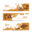 Set of bakery sketch banners vector image vector image