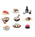 Set of Japanese seafood icons vector image vector image