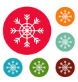 snowflake icons circle set vector image