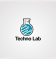 techno lab logo concept with circuit electron vector image