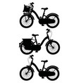 the silhouette of retro bicycles vector image vector image