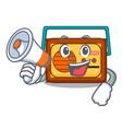 with megaphone radio character cartoon style vector image