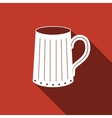 Wooden beer mug icon with long shadow vector image vector image
