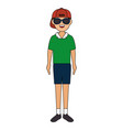 young man with summer collection clothes vector image
