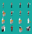 restaurant staff isometric set vector image