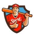 baseball player logo sport or mascot icon vector image