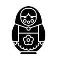 matryoshka icon black sign vector image