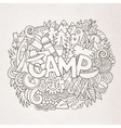 Summer camp hand lettering and doodles elements vector image
