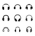 black headphone icons set