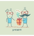 a person gives a gift of flowers girl vector image vector image