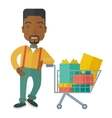 African-american man with shopping cart vector image
