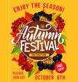 autumn festival or picnic invitation poster vector image vector image