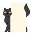 black cat banner kitten character peeking vector image