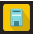 Blue square post box icon flat style vector image vector image