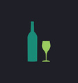 Bottle and glass computer symbol vector image