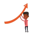 Business man holding arrow going up vector image vector image
