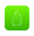 campfire icon green vector image vector image