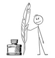 cartoon man or writer or poet with quill pen vector image vector image