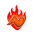 chicken wings with fire design element for poster vector image