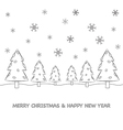 Christmas tree cartoon and snow vector image vector image