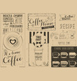 coffee menu craft placemat vector image vector image