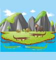 crocodiles and other animals on island vector image