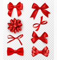 decorative bows realistic red silk ribbons vector image vector image