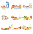 Different Breakfast Food And Drink Sets vector image vector image