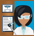 doctor with otoscope and medical diplomas vector image vector image