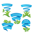 ecology leaf frames and stickers vector image vector image