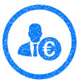 euro banker rounded icon rubber stamp vector image vector image