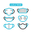 face mask outline icons set vector image