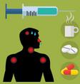 flu shot vaccine with sick man showing symptoms vector image vector image
